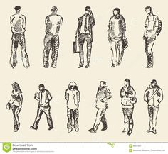 Sketch Of People Vector Illustration Hand Drawing Stock Vector - Image: 69811637
