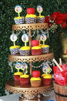 Snow White birthday party cupcakes! See more party planning ideas at CatchMyParty.com!