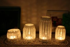 Crochet Pattern for Mason Jar Candle Holder Covers - these would be gorgeous at Christmastime!