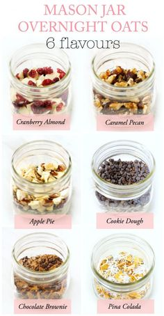 6 DIY Mason Jar Overnight Oat Recipes {Gift in a Jar These DIY Mason Jar Instant Overnight Oats are a fun, healthy and practical breakfast or edible gift idea. Free printable chalkboard labels included for all six delicious flavours! Overnight Oats In A Jar, Protein Overnight Oats, Overnight Breakfast, Overnight Oats Almond Milk, Overnite Oatmeal, Strawberry Overnight Oats, Mason Jar Meals, Meals In A Jar, Mason Jar Food