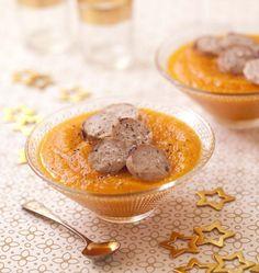 Boudins blancs poêlés et velouté de courge butternut et carottes - Recettes de cuisine Ôdélices