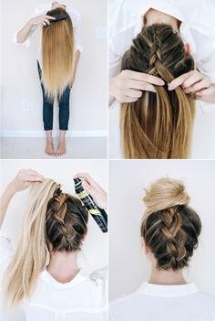 Upside-down Dutch braid meets messy bun in this easy hair tutorial.
