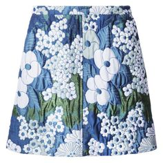 Carven Floral Skirt (6.796.295 IDR) ❤ liked on Polyvore featuring skirts, blue, knee length a line skirt, flower print skirt, floral print a-line skirt, blue skirt and floral printed skirt