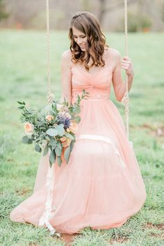 strapless wedding gowns - photo by Mikaela Marie Photography http://ruffledblog.com/peach-and-copper-wedding-inspiration