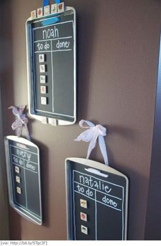 {Command Center Organization} Repurpose a cookie sheet to create a magnetic chore chart; cut a piece of chalkboard contact paper to fit the cookie sheet