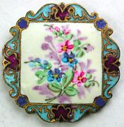 Antique French Enamel Button Hand Painted Flowers on Square w/ Champleve Border