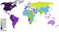 Mapa de los paises en que las personas experimentan mas sus emociones.