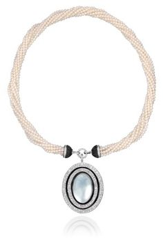 Ivanka Trump freshwater pearl necklace with black onyx & mother of pearl pendant