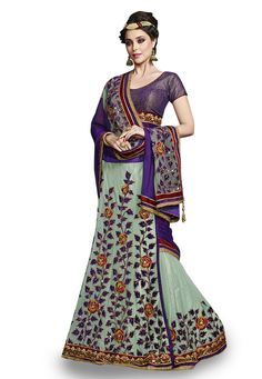 Buy Teal Green Net and Faux Chiffon Lehenga Style Saree with Blouse online, work: Embroidered, color: Purple / Teal Green, usage: Wedding, category: Sarees, fabric: Net, price: $131.12, item code: SWS4790, gender: women, brand: Utsav