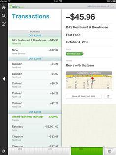 Mint for iPad | Transactions List