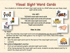 This is an introductory pack- MORE WILL COME. I plan on completing all 220 dolch sight words. Make learning sight words FUN and EASY with these visual sight word cards.  YOU GET:*20 8x10 visual sight word cards*20 8x10 plain sight word cards with phrase*20 3x5 visual sight word cards*20 3x5 plain sight word cards with phrase*Sight word checklistWords included in List A:andcanforallamateinmybyatgolittleonseelookfastlikeyouareHow to Use:To teach:-Show the child the visual sight word card and i...