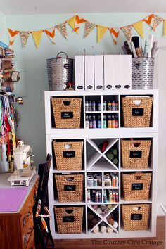 A gorgeous and organized craft room with links to many more craft room tours on other blogs. A great place to get inspired for a craft studio.