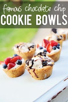 Famous Chocolate Chip Cookie Bowls!! They are unbelievably easy to make too! And, aren't they handsome filled with ice cream and toppings? Yum! Recipe at HowDoesShe.com