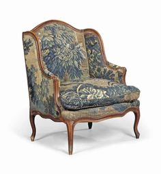 Christie's Auction   A LOUIS XV WALNUT BERGERE MID-1800s The back, arms, squab cushion and seat covered in **verdure tapestry upholstery**some replacements to the construction 42 in. (107 cm.) high; 29 ½ in. (75 cm.) wide; 28 in. (72 cm.) deep