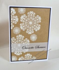 InvisiblePinkCards: Sympathy card, white heat embossing on kraft. Stampin' Up Mixed Bunch
