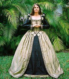 SCA Elizabethan blue / gold silk renaissance gown