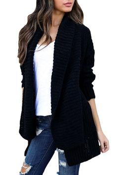 534d3857d1 Enjoy exclusive for Women Shawl Sweater Knit Chunky Long Sleeve Casual  Cardigan Open Front Coat Pockets online - Thetoptrends