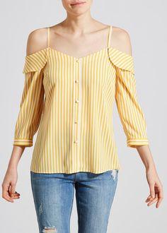 5d309802402a Stripe Cold Shoulder Blouse – Mustard