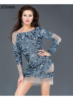 14db537be72 Long sleeve mesh embellished mid-thigh dress by Jovani Short and Cocktail  Designer Sportswear