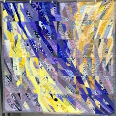 """"""" slide and jump"""" 100 x 100 cm , for sale Art Quilting, Quilting Patterns, Quilting Ideas, Mosaic Designs, Quilt Designs, String Quilts, Contemporary Quilts, Fabric Art, Quilt Making"""