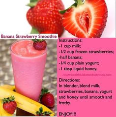 Weight loss smoothie recipes - Diet smoothie recipes Most Popular weight loss smoothie recipes pinned from 500  to 20,000  times ! \u263a\u2665\u263a #carbswitch carbswitch.com #HotPinPtr Please Repin:) Banana Strawberry Smoothie #weightlosssmoothies