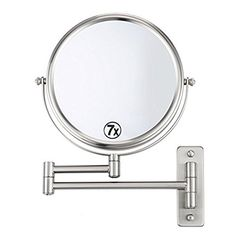 8 Bathroom Mirror Makeup Shave Mirror Magnifying Mirror Double Sided 360 Swivel Extendable Vanity Mirror 1x  7x Magnification Foldable Mirror Wall Mount Chrome Finish Gift Idea by Mona Vista >>> More info could be found at the image url.-It is an affiliate link to Amazon. #Mirrors