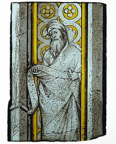 Painted in grisaille and silver stain vitreous paint. Prophet from a Throne of Solomon, ca. 1390-1410. French or South Netherlandish. Made in Bourges or Burgundy. The Metropolitan Museum of Art, New York. The Cloisters Collection, 1995