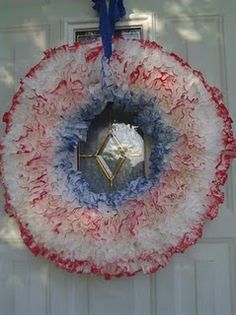 The Fourth of July is my favorite holiday! I love to decorate for the holiday. I made a coffee filter wreath for the fro. Coffee Filter Wreath, Coffee Filter Crafts, Patriotic Wreath, 4th Of July Wreath, 4th July Crafts, Decor Ideas, Craft Ideas, Favorite Holiday, Door Wreaths