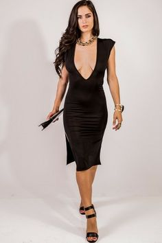 Black Deep V Backless Double Slit Dress Also Available In Blue  The Perfect Cocktail Dress Available At  www.rawfashionboutique.co Log on and shop NEW ARRIVALS