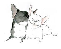 OOAK French Bulldog Original Artwork Love Art Frenchie by InkPug