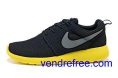 super popular f5cd5 f241c Vendre Pas Cher Chaussures Femme Nike Roshe Run (couleur:vamp,interieur-noir;logo-gris;unique-jaune)  en ligne en France.