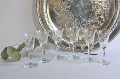 Vintage Etched Crystal Cordials by Noritake by PeriodElegance, www.PeriodElegance.etsy.com