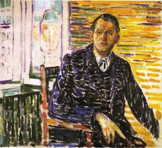 Edvard Munch >> Self-portrait in the clinic of Dr. Jacobson (1909)  |  (, artwork, reproduction, copy, painting).
