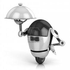 Robot Divertido - Camarero 3d Ilustración Aislados En El Fondo Blanco Fotos, Retratos, Imágenes Y Fotografía De Archivo Libres De Derecho. Image 12331417.