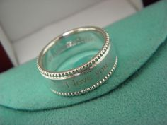 """Tiffany & Co  Sterling Silver """"I LOVE YOU"""" Wide Beaded Ring Band Sz 7.75  #TiffanyCo #Band"""