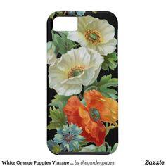 White Orange Poppies Vintage Art iPhone Case iPhone 5 Case