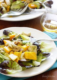 California Grilled Chicken Avocado and Mango Salad - This meal is ready in minutes, perfect for a hot summer day or night!