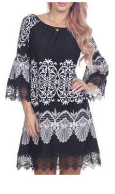 Love the Lace! Black and White Women's Stylish Scoop Neck 3/4 Sleeve Lace Print Dress #Black #White #Lace #Romantic #Bohemian #Style #Dress #Fashion