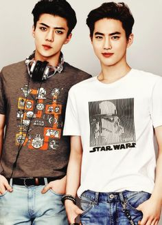 """Sehun and Suho promoting their song """"Lightsaber."""