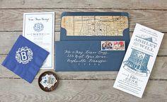 Custom invitation design / letterpress / Nashville / rehearsal dinner invitation / Tenn Hens Design