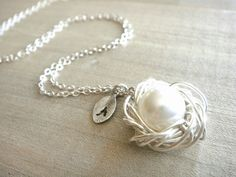 Personalized Birdnest Pendant  1 Pearl Wrapped in by Beazuness, $34.00 ~~ Possible mother's day gift. What do you think??