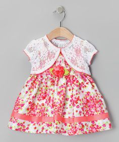 Take a look at this Pink Floral A-Line Dress & White Shrug - Infant by Youngland on #zulily today!