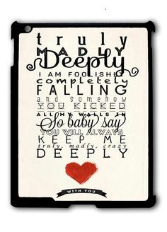 One Direction Truly Madly Deeply Ipad Case, Available For Ipad 2, Ipad 3, Ipad 4 , Ipad Mini And Ipad Air