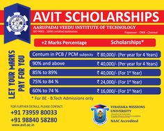 Aarupadai Veedu Institute of Technology is committed to extend a helping hand to eligible students to successfully pursue their education. With this aim, every year we provide scholarships depending upon the percentage of marks to students.  Check out the scholarship details below.  For details, contact +91-7395980033, +91-9884058280 or Click website http://www.avit.ac.in/  #Engineeringcollegesinchennai #EngineeringAdmission2016 #AVITChennai #AVIT #Admission2016…