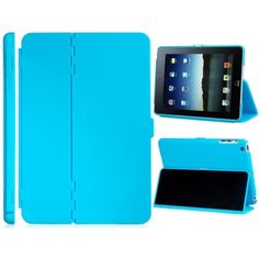 Hard Shell Aqua Blue iPad Mini Case | Slim and purpose built to protect your tablet perfectly describes this case. Made out of high grade durable materials that are scratch and shatter proof to keep your iPad Mini free of any damages. Can be transformed into a stand to easily share photos or videos with your friends and family. Side openings let you control the volume, access the audio jack and plug in directly to charge your iPad.