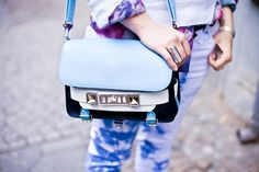 """what-do-i-wear: """" a mohair jumper by Nowhere, vintage blouse, Isabel Marant jeans, a Proenza Schouler bag (image: personaluniform) """" Im Blue, Blouse Vintage, Summer Wear, Proenza Schouler, Beautiful Bags, Fashion Details, Saddle Bags, Bag Accessories, Purses And Bags"""