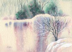 Eades Original Watercolor Painting Trees Cliff Snow Winter Scene Landscape