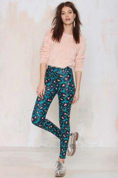 Missy Skins Black Hearts Leather Pant - Leopard