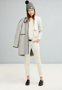 Madewell texturework sweater worn with the Serge oxford.