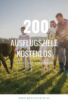 Tipp für den nächsten #Familienurlaub in der #Steiermark gefällig? Mit der #GenussCard habt ihr die Auswahl über 200 Ausflugsziele kostenlos zu besuchen, beispielsweise eine #Alpaka-Wanderung oder ein Besuch bei Gsellmanns Weltmaschine.